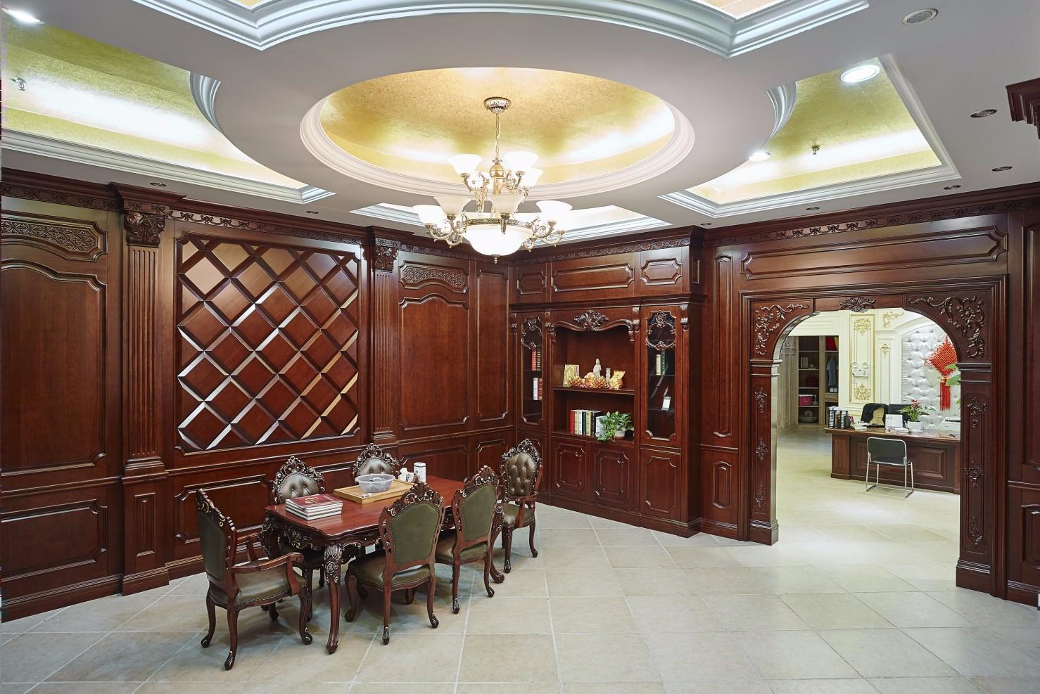 卧室套房,书房,酒柜酒窖,客厅餐厅,护墙板,木饰面吊顶,房门,楼梯等全